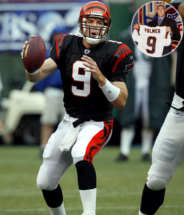 The Bengals tabbed Palmer as their quarterback of the future after the Fresno native won the Heisman Trophy during his senior year at USC. Palmer enjoyed a decorated career In Cincy despite a horrific knee injury suffered during the 2005-06 postseason. He set a number of franchise passing records, made a pair of Pro Bowls and lead Cincinnati to its first division title since 1990. The Bengals traded him to the Oakland Raiders in 2011 after he refused to play for them any more.