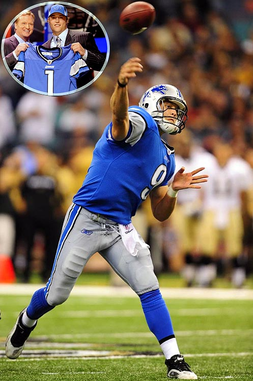 Stafford joined the Lions after forgoing his senior season at Georgia, and became the face of a franchise in need of a savior. The young QB was considered a bright spot on an otherwise desolate squad, leading Detroit to its first wins since the 2007 season, including a 38-37 victory over the Browns in which Stafford became the youngest player in NFL history to throw five touchdown passes. In 2011 he became the fourth quarterback to throw for over 5,000 yards in a season.