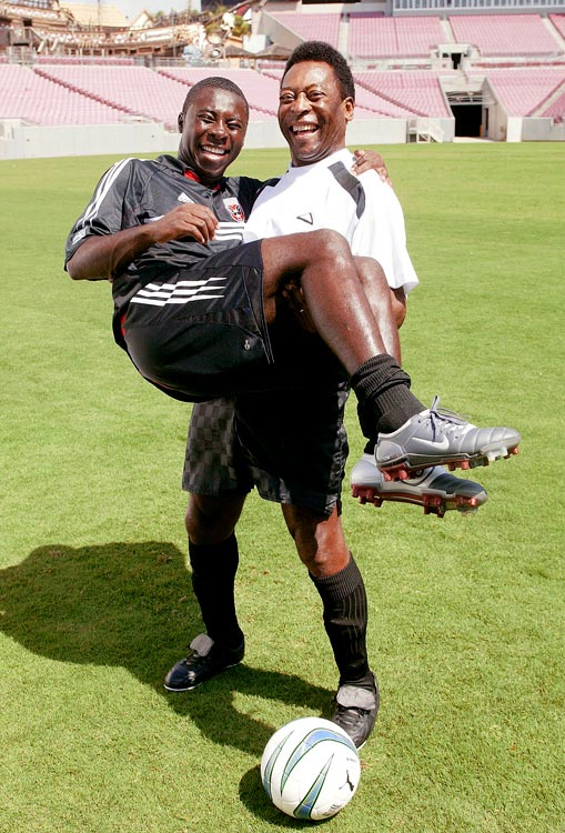 """The legendary Pele met Freddy Adu in 2004 while the pair made a Sierra Mist commercial in Florida. Pele said Adu """"[had been given] the gift to play football."""""""