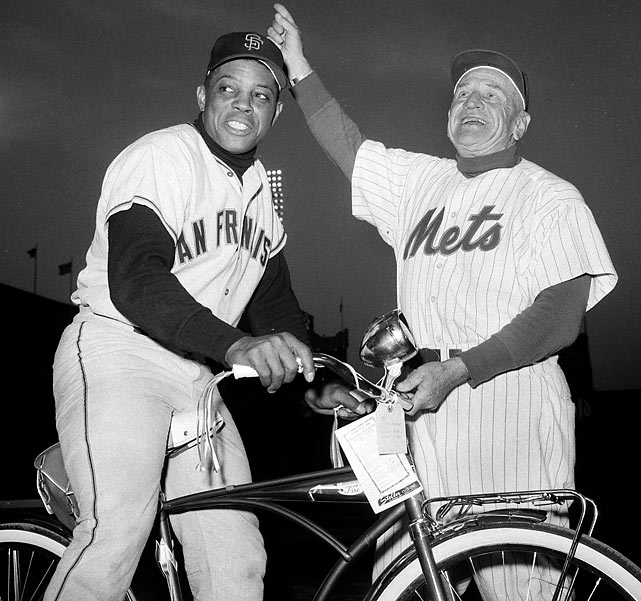 Mays and Stengal are seen at New York's Polo Grounds during a tribute to Mays.
