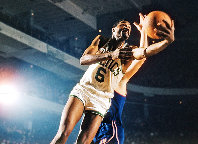 Russell won 11 NBA titles and five MVP awards over a 13-year career with the Boston Celtics, dominating the paint on defense.