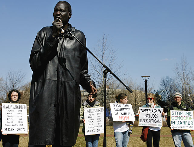 In 2006, Bol helped spearhead the Sudan Freedom Walk, a 300-mile march from New York to Washington. The purpose of the walk was to shed light on the genocide and modern-day slavery in Sudan, and to call for U.S. government action to stop the violence and enslavement of black African Sudanese.