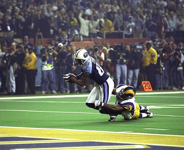 Atlanta's most recent Super Bowl, XXXIV in 2000 at the Georgia Dome, featured one of the most memorable plays in Super Bowl history. Rams linebacker Mike Jones tackled Titans receiver Kevin Dyson one-yard short of the goal line on the final play of the game to secure St. Louis' 23-16 win. Years hosted: 1994, 2000.
