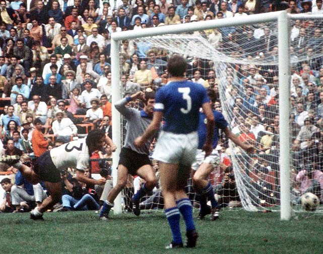 Muller would end up winning the World Cup in 1974 with Germany, but in 1970 he settled for being the tournament's top scorer, with 10.