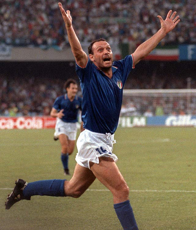 A relative unknown before the tournament, Schillaci started on the bench. However he would make an impact by scoring as a sub and going on to finish with six goals.
