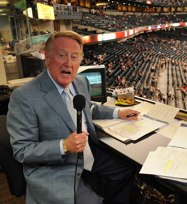 """At 61 seasons, Scully has the longest tenure of any broadcaster with one professional sports team, and he's still going strong. He has been known as """"the Voice of the Dodgers"""" since 1950, when the team was still in Brooklyn. The 82-year-old play-by-play man and his familiar voice may be nearing a final season."""