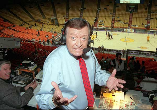 """The long-time play-by-play voice of the Los Angeles Lakers, Hearn is credited with inventing key basketball phrases like """"air ball,"""" """"dribble-drive"""" and """"slam dunk."""" During his broadcast streak of 3,338 games that lasted from November 1965 to December 2001, Hearn was known for making up nicknames for Lakers' stars. Examples include Jerry """"Mr. Clutch"""" West, Wilt """"the Stilt"""" Chamberlain and """"Big Game James"""" Worthy."""