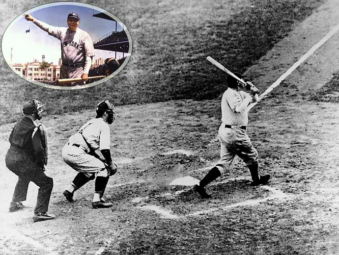 Some call it fantasy, some call it legend. Others call it reality. Did Babe Ruth call his shot in the fifth inning of Game 3 of the 1932 World Series? The Babe's ambiguous gesture toward center field before he clobbered a towering home run into the Wrigley Field bleachers is the stuff of baseball mythology. Ruth's blast landed at least 440 feet from home plate, with some estimates as high as 490 feet. The homer was his second of the game, and led the Yanks to a 7-5 win over the Cubs.