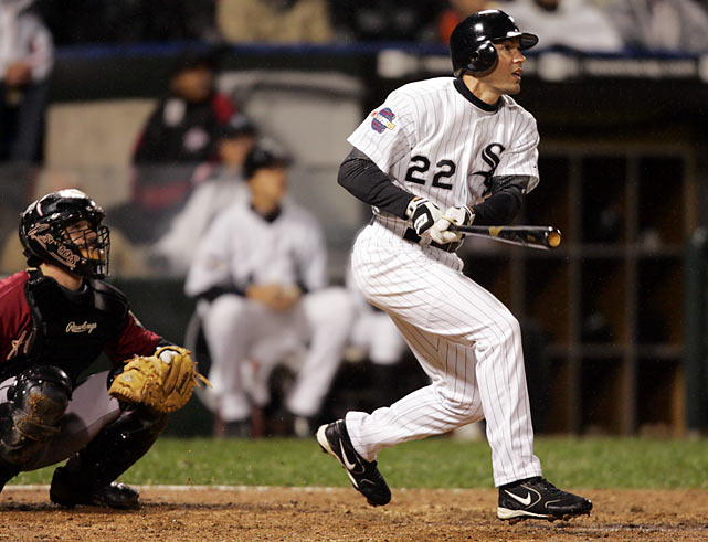 In the bottom of the ninth, Astros closer Brad Lidge faced outfielder Scott Podsednik, who had not hit a home run during the regular season. Podsednik hit a 2-1 fastball for a walk-off homer (just the 14th in World Series history) to give the Sox a 2-0 series lead. Chicago rode the momentum to the franchise's first World Championship since 1917.
