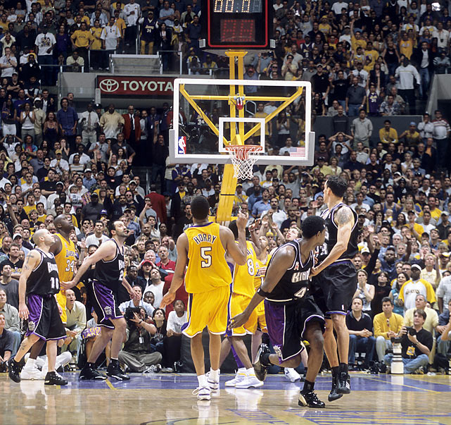 The Kings-Lakers rivalry of the early 2000s culminated in what is considered one of the best series in playoff history. With the back-to-back defending champion Lakers down 2-1 in the series, a Game 4 loss would have all but locked up a Finals trip for Sacramento. But with the Lakers down two on the game's final possession, a mad scramble on the boards and a fortuitous bounce put the ball in the hands of forward Robert Horry, who stroked a 3-pointer from the top of the key as time expired, tying the series and erupting the roar of the crowd in Los Angeles. The Lakers went on to beat the Kings in seven games.Send comments to siwriters@simail.com.