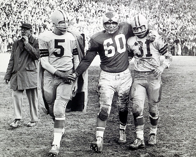 The NFL title game took place at Philadelphia's Franklin Field in 1960, pitting the Green Bay Packers versus the hometown Eagles. Neither team had been to the championship game in more than a decade. With the Eagles leading  17-13 late in the second half, quarterback Bart Starr moved Green Bay down the field. From the Eagles' 22, Starr threw a short pass to Jim Taylor, who headed toward the end zone for the go-ahead touchdown. But Philly's Chuck Bednarik, the oldest player on the field (35), wrestled Taylor to the ground short of the goal line and held him down as the final seconds ticked off the clock. The victory is the Eagles' most recent league NFL title.