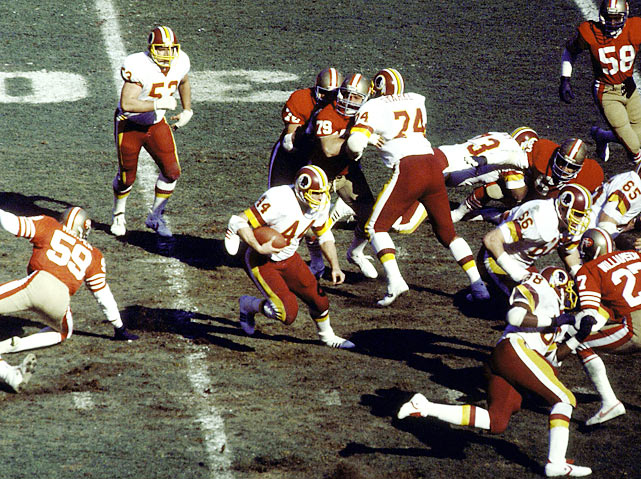 The Redskins built a 21-point lead after three quarters thanks in part to a pair of touchdowns from John Riggins. In the fourth quarter, though, Joe Montana and the Niners went nuts, to the tune of 21 straight points. But the Skins reeled off a 13-play, six-minute drive late in the game that set up a game-winning 40-yard field goal from Mark Moseley with 40 seconds left.