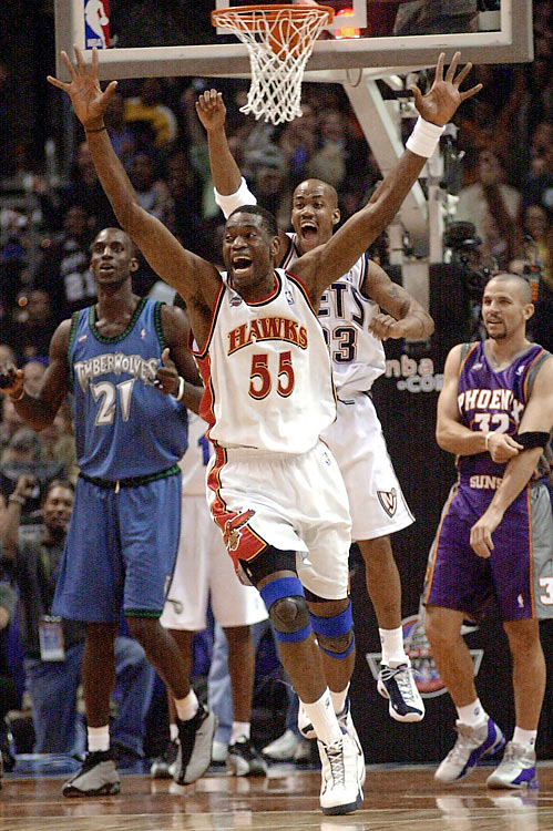 On the 50th anniversary of the game, the East turned what looked to be a blowout into a 111-110, come-from-behind victory. Down 95-74 with nine minutes left, the East came thundering back with the help of Allen Iverson, Jerry Stackhouse and Vince Carter. For the last minutes of the game a back and forth battle ensued, coming to a surprising end when Marbury answered Kobe Bryant's jumper with a 3-pointer that put the East up by a point with 28 seconds remaining.