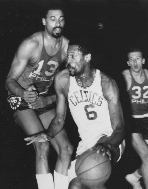 Ever had a friend you just can't get rid of? Chamberlain and Russell have. Over a ten-year period in the 1960s they guarded each other in 142 games. Chamberlain had better stats and scored 50 or more points against Russell seven times. But Russell won 11 championships and Chamberlain was left with only one.