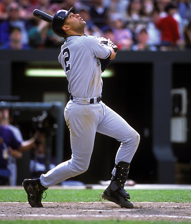 Six days after one future Hall of Famer debuted in pinstripes, the Yankees welcomed another to the big leagues as Jeter played his first game. He went 0-for-5 out of the nine-hole in his first start, but helped turn a pair of douple plays from shortstop. He batted .234 in his two-week stint before being sent back to the minors. He returned for good at the start of the 1996 season, when he won Rookie of the Year honors and helped lead the Yankees to the first of five World Series titles in his career.