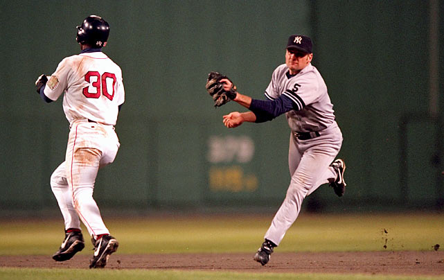"Known to Red Sox fans as ""The Phantom Tag,"" umpire Tim Tschida blew a crucial call in the eighth inning of Game 4 of the 1999 ALCS. The Yankees led 3-2 in the bottom of the eighth but the Red Sox had a runner at first and one out when John Valentin hit a groundball to second. The Yankees' Chuck Knoblauch fielded the ball but completely whiffed on Boston baserunner Jose Offerman (who was heading to second) before throwing to first to get Valentin. This should have brought All-Star shortstop Nomar Garciaparra to the plate with a man in scoring position and two outs. Instead, Tschida called Offerman out, resulting in an inning-ending double play. The Yankees won the game to take a 3-games-to-1 series lead and finished off the Red Sox in Game 5."