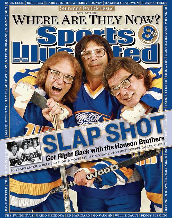 """Yeah, they're fictional characters. But the iconic Dave Hanson (Red Wings, North Stars) and Steve Carlson (Kings) did skate in the NHL as well as the famed movie Slap Shot. Third """"brother"""" Jeff Carlson (right) was a minor league winger. Pass the foil."""