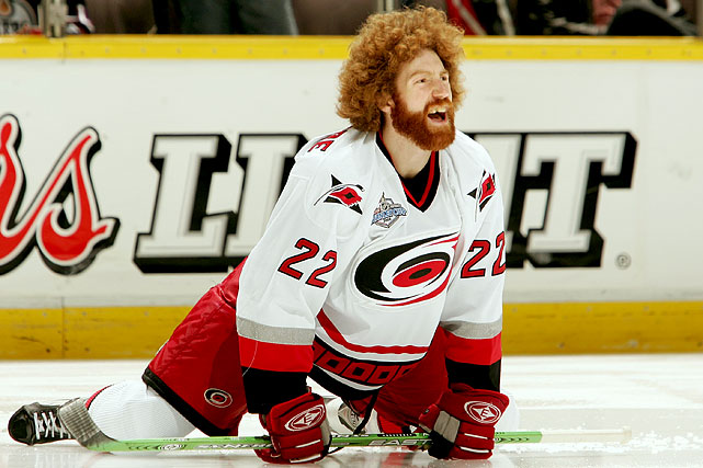 While skating for the 2006 Stanley Cup champion Hurricanes, backliner Commodore made the fright wig look famous as well as popular with fans, who were often seen sporting them at games.