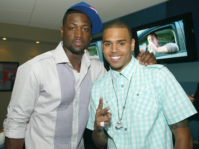 Wade and Chris Brown attend Game Four of the 2009 NBA Finals between the Magic and Lakers.