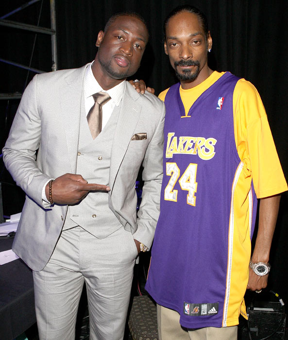 Wade poses with Snoop Dogg at the Cedars Sinai Medical Center's 24th Annual Sports Spectacular in Century City, Calif.