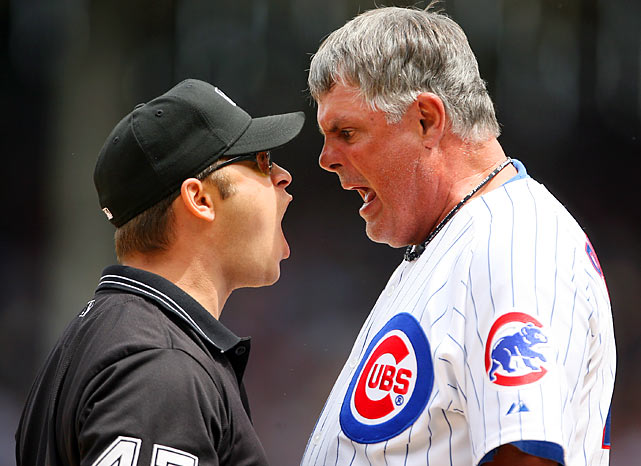 Mark Wegner felt the wrath of Lou Piniella on many an occasion, here for calling Angel Pagan out at third.