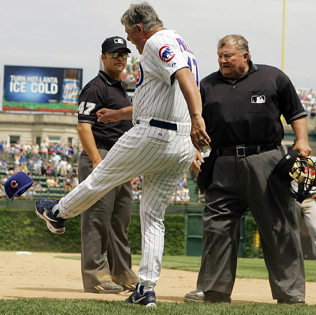 Pinella, a natural righty, was able to punt hats with ease using both feet. Here Piniella was ejected by umpire Mark Wegner on June 2, 2007.