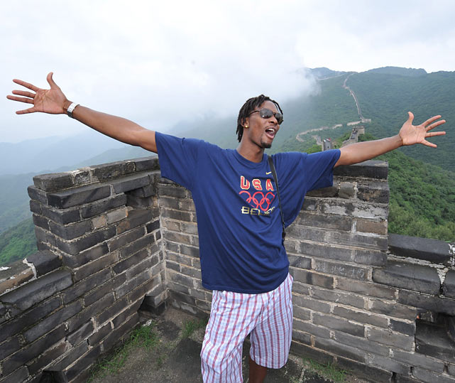 Bosh goes sight seeing at  The Great Wall during the 2008 Beijing Summer Olympics.