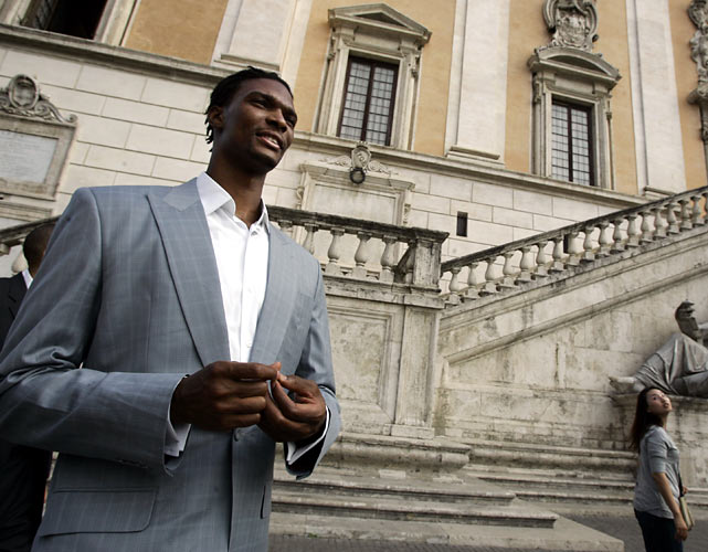 Bosh walks in Rome's Campidoglio City Hall Square during the Raptors' visit to Rome.