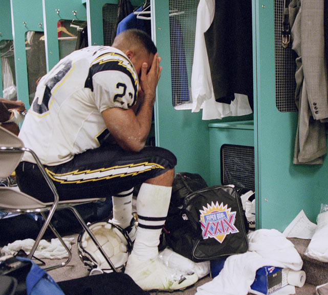 Natrone Means expresses his disappointment after the Chargers lost to the Colts in the AFC wildcard game.
