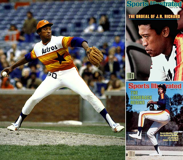 Richard was an unremarkable pitcher for the first five seasons he spent in the majors, but in 1976, at age 26, he exploded for 20 wins and 214 strikeouts for the Astros. He won 18 each of the next three years, posting 214, 303 and 313 K's. Richard was an NL All-Star in 1980 but just a week after pitching in the All-Star Game he left the mound with what he thought was a dead arm. Two weeks later he suffered a major stroke and despite several comeback attempts never pitched in the majors again.