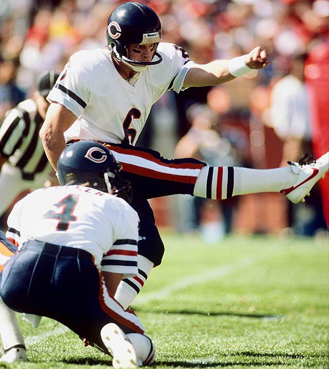 Butler played 11 seasons for the Bears (and two for the Cardinals), hitting on 265 of 361 career field goals and 413 of 426 extra point attempts. He was particularly effective from long range, making 16 of 42 field goals from 50 yards or more.Runner-up: Rolf BenirschkeWorthy of consideration: Steve Owens