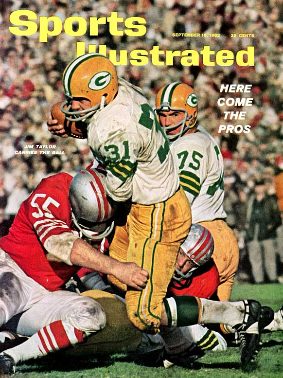 As one of the offensive pillars of Vince Lombardi's Green   Bay attack, Taylor rushed for 8,597 yards, caught 225 passes and scored 558 points. He had 19 rushing touchdowns in 1962.Runner-up: Donnie ShellWorthy of consideration: William Andrews, Priest Holmes, Wilbert Montgomery