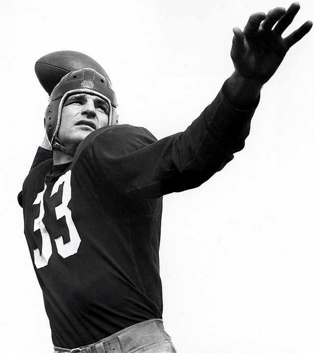 """One of the game's great passers, """"Slingin"""" Sammy was a record six-time NFL passing leader and finished his career with 21,886 passing yards and 187 touchdowns. He also led the NFL in punting four straight years, beginning in 1940.Runner-up: Tony DorsettWorthy of consideration: Roger Craig, David Fulcher, Ollie Matson, Mike Rozier"""