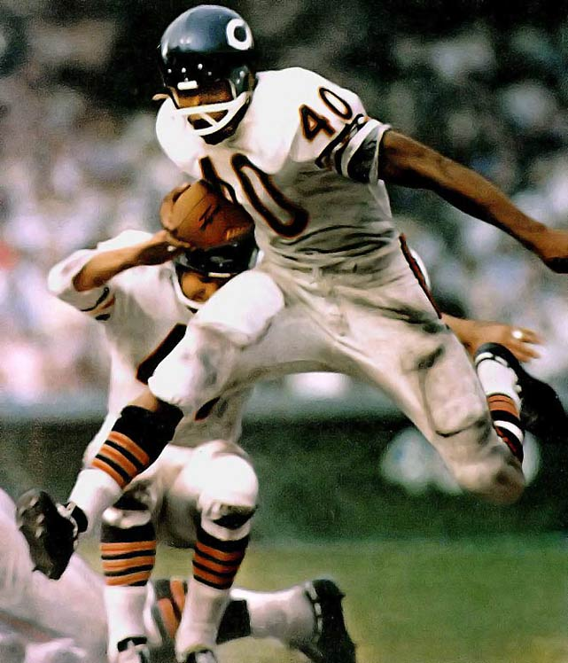Has anyone looked more graceful on a football field? Sayers's career was cut short by injuries but he still managed to finish with 9,435 combined net yards.Runner-up: Elroy (Crazy Legs) HirschWorthy of consideration: Mike Alstott, Dick Anderson, Tom Brookshier, Mike Haynes, Wayne Millner