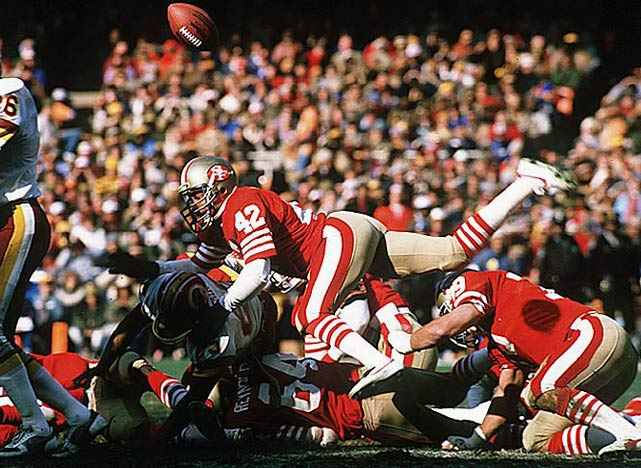 An All-Pro free safety who intimidated wide receivers with his bone-crushing hits, Lott won four Super Bowls with the San  Francisco 49ers. He earned All-Pro honors at three positions (cornerback, free safety, strong safety).Runner-up: Sid LuckmanWorthy of consideration: Ricky Bell, Charlie Conerly, Dick Hoak, Chuck Muncie, Gerald Riggs, Charley Taylor, Paul Warfield, Chris Warren