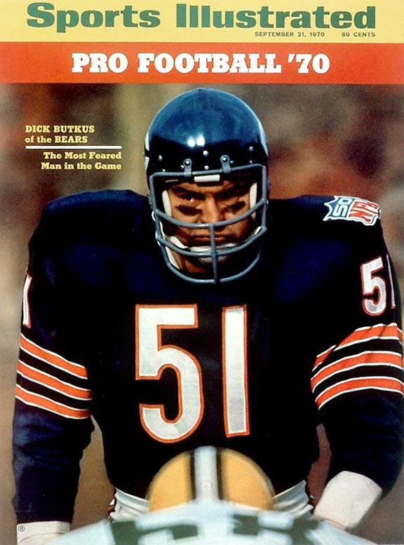 Butkus remains the standard by which all middle linebackers are judged. He was named to eight straight Pro Bowls.Runner-up: Sam MillsWorthy of consideration: Randy Cross, Kevin Hardy, Jim Ringo, Jim Ritcher.