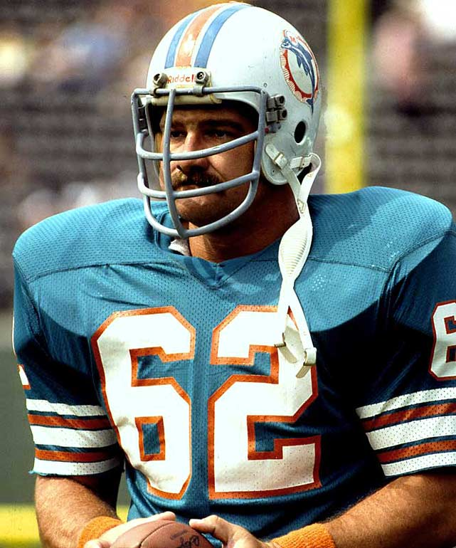 One of the finest centers in NFL history, he anchored the Dolphins line during the 1970s. Langer was named All-Pro six straight years, from 1973 to 1978.Runner-up: Guy McIntyreWorthy of consideration: Charley Trippi, Ed White