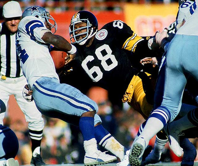 A ferocious pillar of the Steel Curtain, Greenwood teamed with Joe Greene on the left-side to form one of the league's greatest defensive lines. He had 73.5 career sacks and was All-AFC five times.Runner-up: Russ GrimmWorthy of consideration: Rubin Carter, Joe DeLamielleure, Kevin Mawae, Will Shields, Kyle Turley