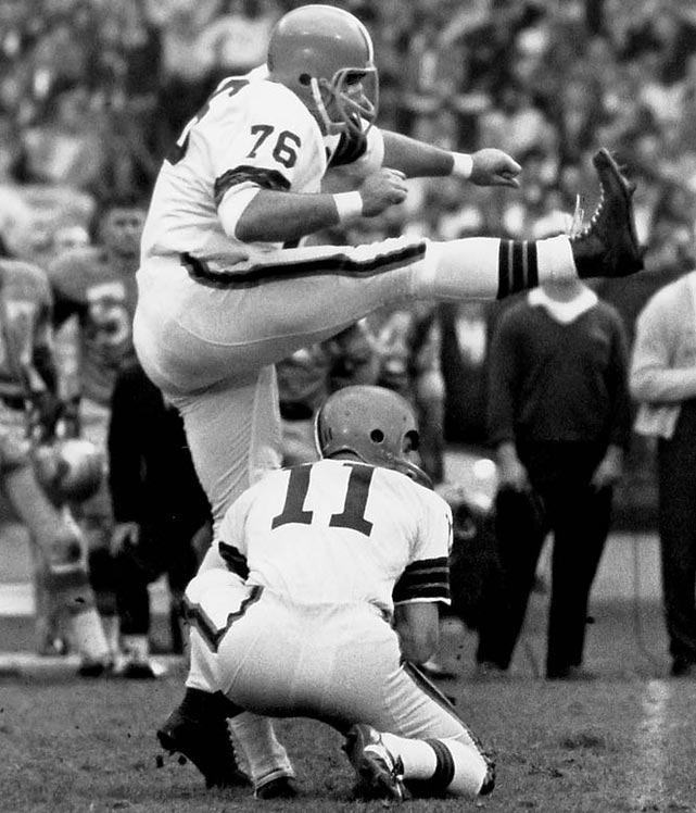 You have to love a kicker who is nicknamed The Toe and wears a lineman's number (he was an all-NFL tackle before a back injury forced him to become a full-time kicker). Groza played 21 seasons, mostly with the Browns, and led the NFL in field goals five times.Runner-up: Marion MotleyWorthy of consideration: Bob Brown, Roger Brown, Lou Creekmur, Rosey Grier, Steve Hutchinson Steve McMichael, Orlando Pace