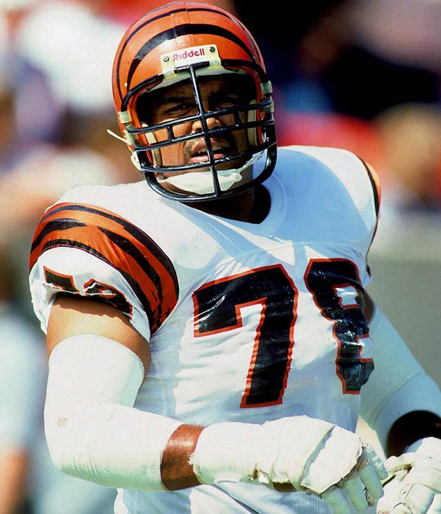The dominant offensive tackle of his era, Munoz played 13 seasons for the Bengals (1980-92) and was elected to the Pro Bowl 11 straight times.Runner-up: Art ShellWorthy of consideration: Bruce Armstrong, Bobby Bell, Stan Jones, Mike Kenn, Jackie Slater, Bruce Smith, Bubba Smith, Richmond Webb, Dwight White