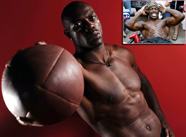 Sure, he's got the mouth -- the one that wants you to get ya popcorn ready. But T.O. is most proud of his six-pack. Every chance he gets, he pulls off his shirt and shows `em of, including at an impromptu driveway press conferences.