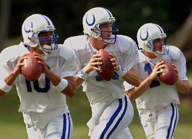 Indianapolis quarterback Peyton Manning (center) drops back with backup quarterback Pete Gonzalez (left) and Kelly Holcomb during a drill at the teams' training camp in Terre Haute, Ind.,