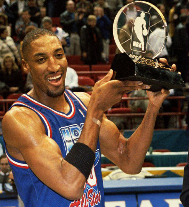 Pippen holds his MVP Trophy after scoring 29 points to lead the East to a 127-118 defeat of the West at the NBA All-Star Game in Minneapolis, Minn.