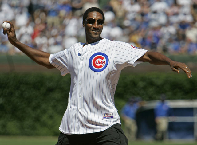 Pippen throws out the first pitch before a Cubs-Brewers game at Wrigley Field.