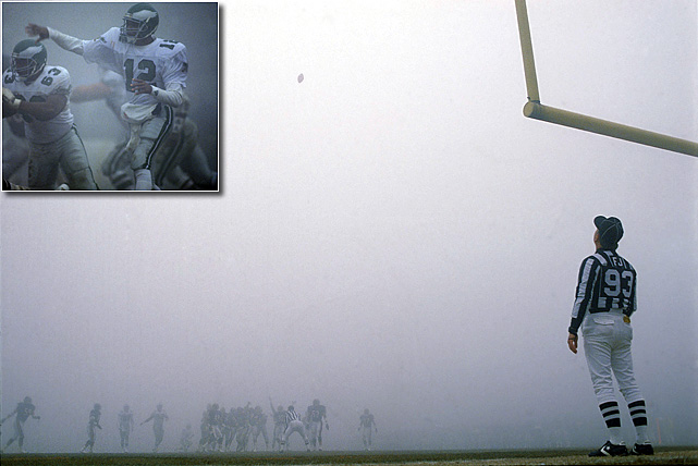 During the Fog Bowl, a NFC divisional playoff game in 1988, no one won. In the second quarter, a heavy, dense fog rolled over Soldier Field, limiting the vision of both the fans and the players. Play continued, but players from both the Philadelphia Eagles and the Chicago Bears complained that they had trouble seeing the first-down markers. Eagles quarterback Randall Cunningham had a career day with 407 passing yards, but, perhaps because he couldn't see it, was unable to find the end zone.   Though no one saw it, the Bears were victorious 20-12.