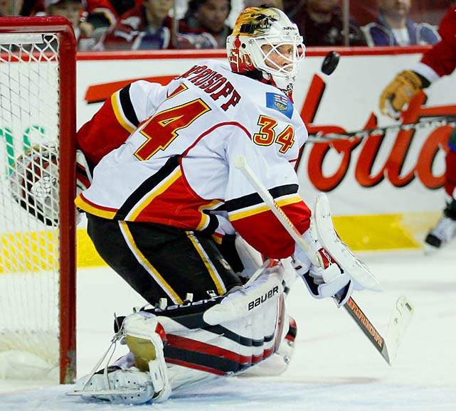 He switched to 34 after arriving from San Jose to find Dean McAmmond wearing his preferred 37 in Calgary. Hasn't done too shabbily, reaching the 2004 Stanley Cup Final and beating out Martin Brodeur for the Vezina in 2006.