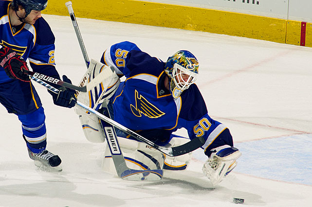 A number favored by fourth-string goalies was selected by Mason when he joined the Blues in 2008 and went on to a 27-21-7, 2.41 GAA season. Had a decent 30-22-8, 2.53 GAA slate in 2009-10 before being supplanted by the newly-acquired Jaroslav Halak.