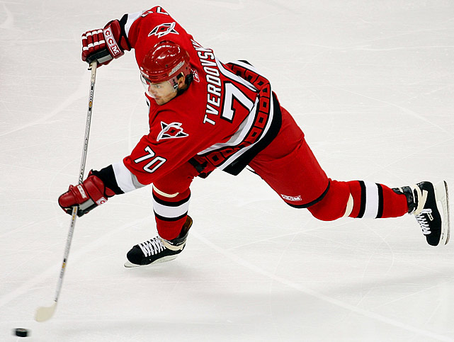 """The journeyman, who has been toiling in the KHL since 2007, wore this number with the Stanley Cup-winning Hurricanes in 2005-06. Yeah, this choice violates our """"briefly"""" rule, but the other wearers (Kevin Sawyer, David Steckel, Greg Stewart, Tim Thomas, and Jeremy Yablonski) either wore it just as briefly or with less distinction."""