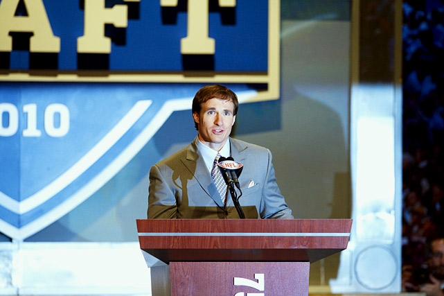Brees announced the first-round selection for the Saints (Florida State cornerback Patrick Robinson at last April's NFL Draft at New York's Radio City Music Hall.