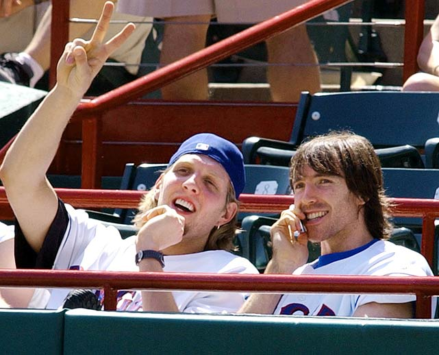 Nash and then-Mavericks teammate Dirk Nowitzki take in a Rangers game during April 2003.  The two made quite the tandem that year, with Nash averaging 17.7 points and 7.3 assists per game and Nowitzki racking up 25.1 points per game.  Dallas advanced to the Western Conference Finals before falling to the San Antonio Spurs.